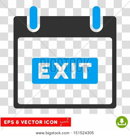 Vector Exit Caption Calendar Day EPS vector icon. Illustration style is flat iconic bicolor blue and gray symbol on a transparent background.