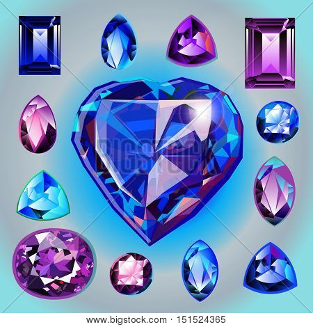 Collection of gems: Sapphires of different shapes and cut