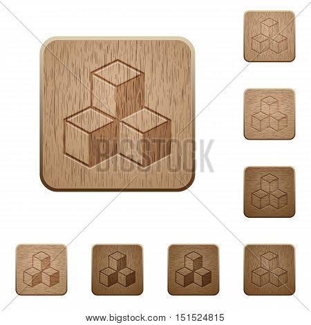 Set of carved wooden cubes buttons in 8 variations.