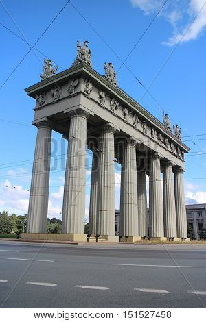 St. Petersburg Russia August 17 2016 The Triumphal Arch