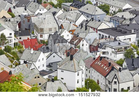 Norway. Aerial european city view. Alesund. Kniven viewpoint. Horizontal