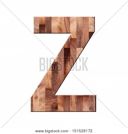 Wooden Parquet Alphabet Letter Symbol - Z. Isolated On White Background