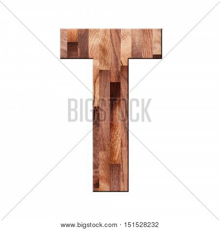 Wooden Parquet Alphabet Letter Symbol - T. Isolated On White Background