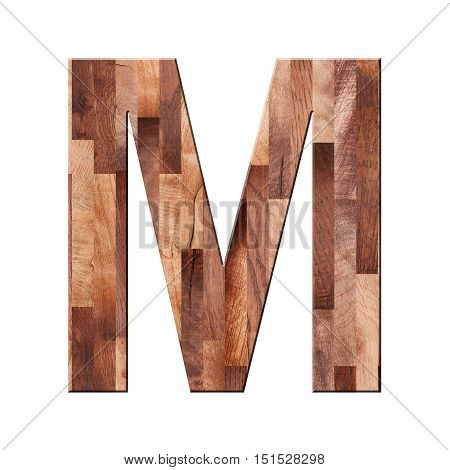Wooden Parquet Alphabet Letter Symbol - M. Isolated On White Background