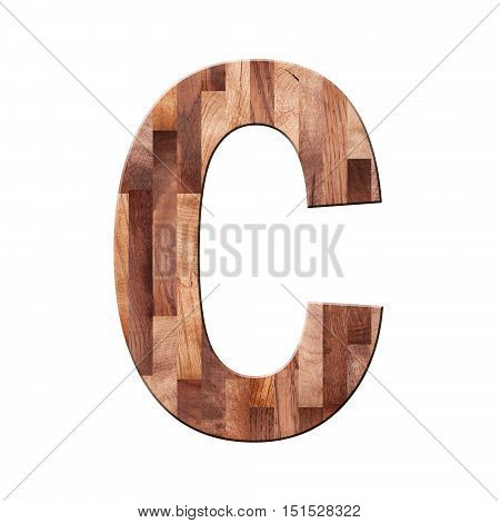Wooden Parquet Alphabet Letter Symbol - C. Isolated On White Background
