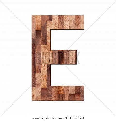 Wooden Parquet Alphabet Letter Symbol - E. Isolated On White Background