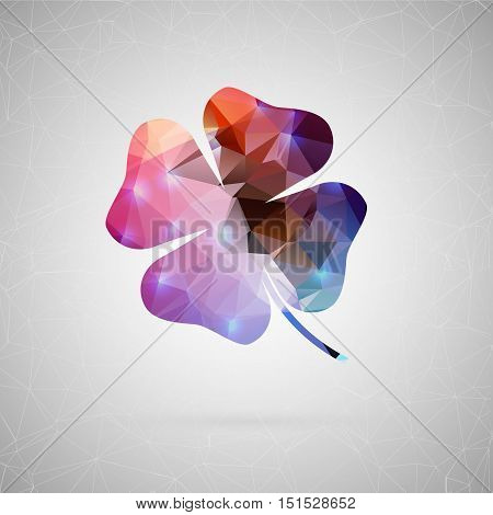 Abstract creative concept vector icon of clover. For web and mobile content isolated on background, unusual template design, flat silhouette object and social media image, triangle art origami.
