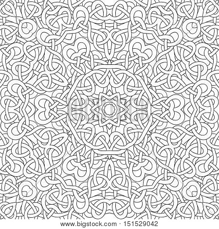Vector seamless pattern of hand drawn black outlines interwoven ribbons
