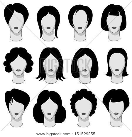 Woman hairstyle black vector hair silhouettes. Wig on head of mannequin illustration