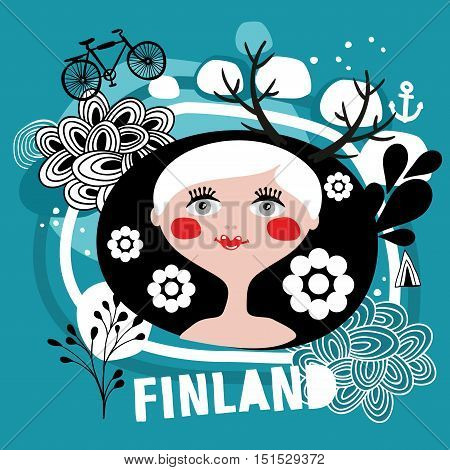 Portrait of attractive blond woman from Finland. Vector illustration.