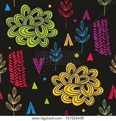 Abstract and colorful autumn seamless pattern. Vector background.