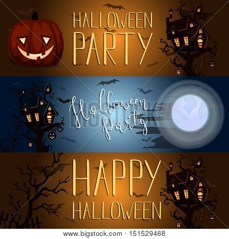Halloween party banner with halloween elements and place for text. Halloween castle silhouette at night landscape. Cartoon Halloween spooky castle. Halloween design elements. Flyer on Halloween party night. Layout for halloween ad.