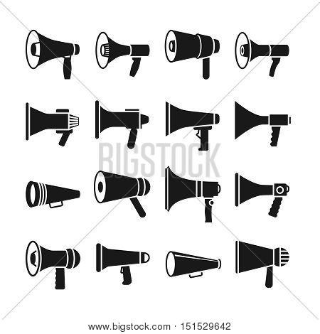 Megaphone and announcement, loudspeaker, vector icons. Speaker equipment for communication illustration