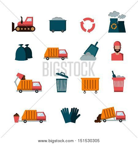 Recycling and waste flat vector icons. Service of garbage collection illustration