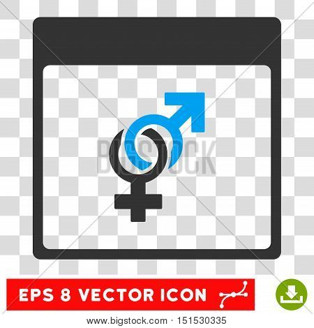 Vector Marriage Calendar Page EPS vector icon. Illustration style is flat iconic bicolor blue and gray symbol on a transparent background.