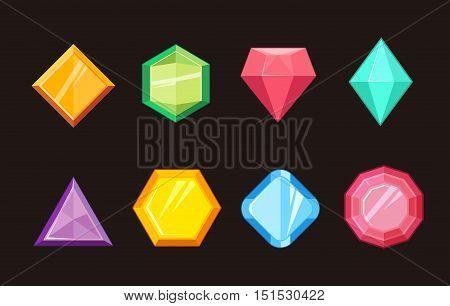 Cartoon gems jewels diamond brilliant vector set. Gemstone and crystal, precious glass elements illustration