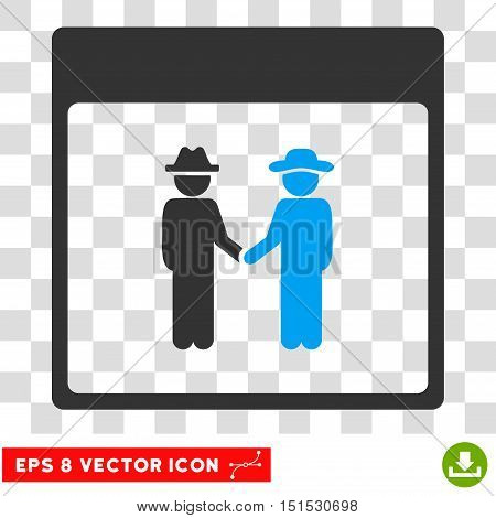 Vector Men Handshake Calendar Page EPS vector pictogram. Illustration style is flat iconic bicolor blue and gray symbol on a transparent background.