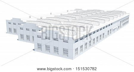 Hangar building. White wire-frame. Isolated on white, 3D Illustration