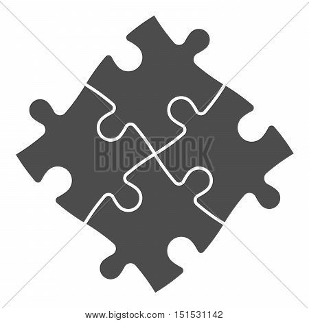 Solved jigsaw puzzle of four grey pieces. Team cooperation, teamwork or solution business theme. Simple flat vector illustration on white background.