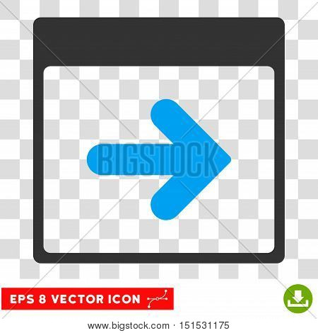 Vector Next Calendar Day EPS vector pictograph. Illustration style is flat iconic bicolor blue and gray symbol on a transparent background.
