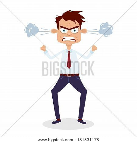 Angry Businessman. Vector Cartoon Flat Character On White Background.