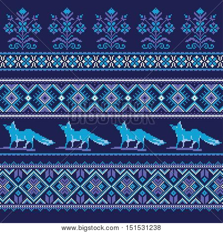 Set of Ethnic holiday ornament pattern in blue colors. Vector illustration. From collection of Balto-Slavic ornaments