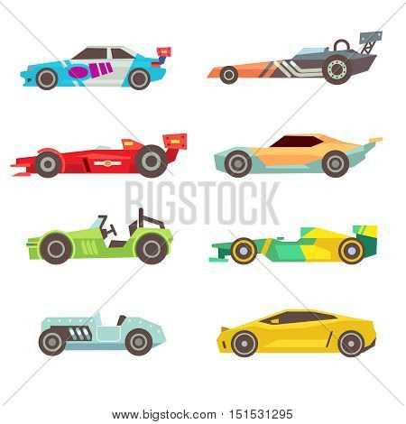 Sport racing car flat vector icons isolated on white background. Speed motor drive illustration