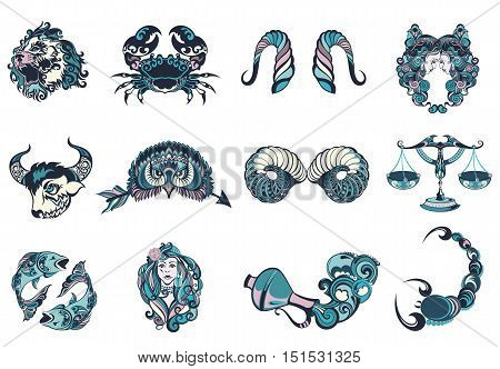 Set of graphic signs of the Zodiac