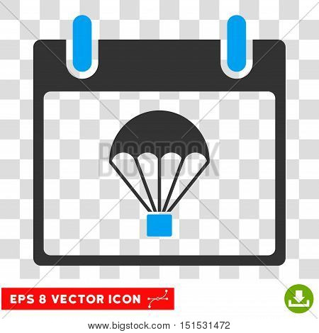Vector Parachute Calendar Day EPS vector pictogram. Illustration style is flat iconic bicolor blue and gray symbol on a transparent background.