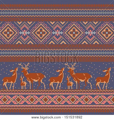 Set of Ethnic holiday ornament pattern in brown colors. Vector illustration. From collection of Balto-Slavic ornaments