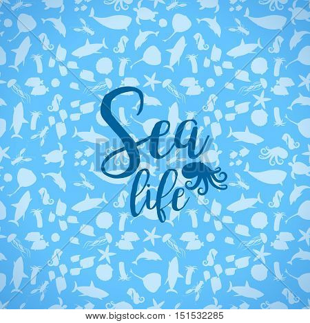 Sea life card with silhouettes seamless pattern. Vector illustration