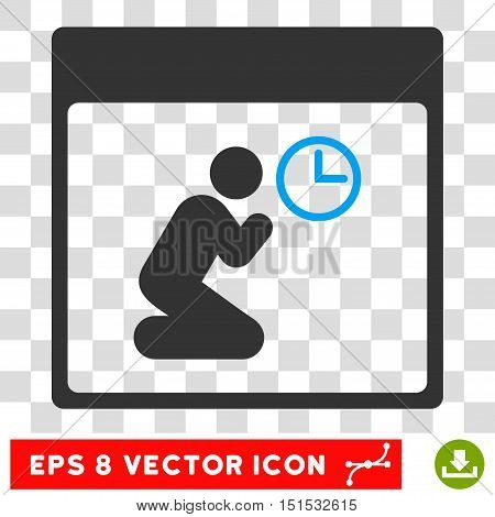 Vector Pray Clock Calendar Page EPS vector pictogram. Illustration style is flat iconic bicolor blue and gray symbol on a transparent background.