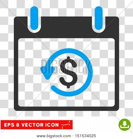 Vector Refund Calendar Day EPS vector pictogram. Illustration style is flat iconic bicolor blue and gray symbol on a transparent background.