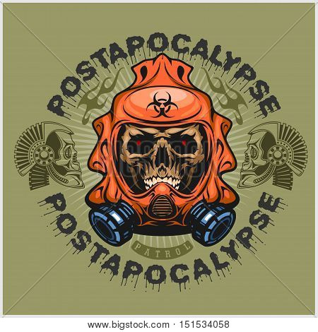 industrial, post-apocalypse coat of arms with skull, grunge.vintage design t-shirts on light background