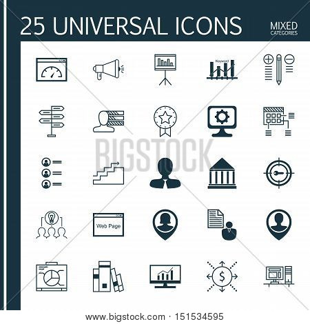 Set Of 25 Universal Icons On Schedule, Media Campaign, Keyword Optimisation And More Topics. Vector