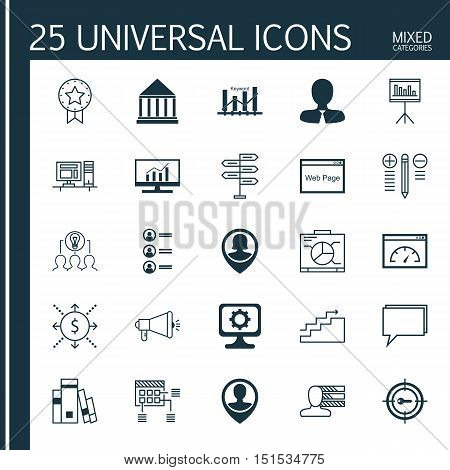 Set Of 25 Universal Icons On Loading Speed, Keyword Optimisation, Collaborative Solution And More To