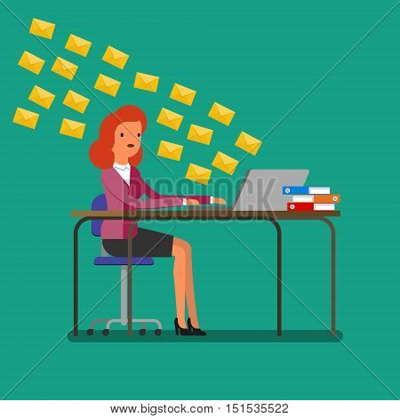 Concept of communication. Woman receiving tons of messages on laptop. Flat design, vector illustration.