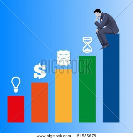 Components of success business concept. Pensive businessman in business suit sits on highest bar of bar chart and looks on other bars with idea, money, data and time above. Vector illustration.