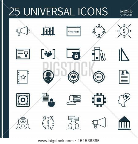 Set Of 25 Universal Icons On Keyword Marketing, Warranty, Personal Skills And More Topics. Vector Ic