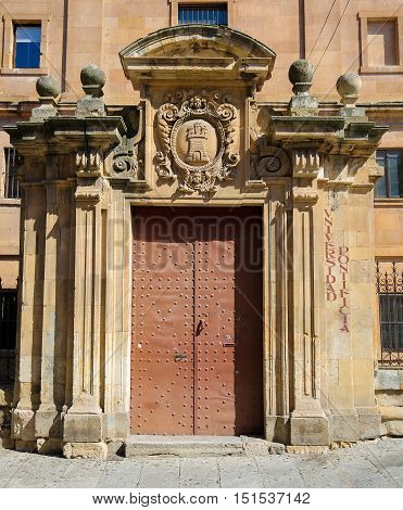 Gate At The Pontifical University Of Salamanca, Spain