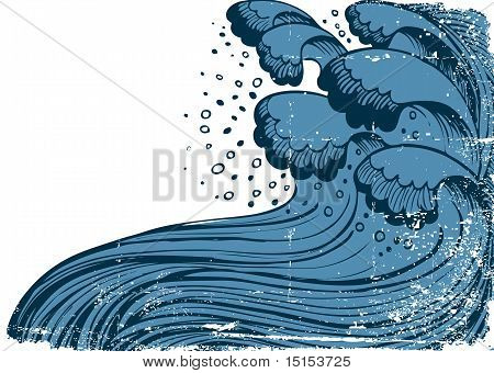 Storm In Blue Sea.vector Big Waves On White Grunge Background