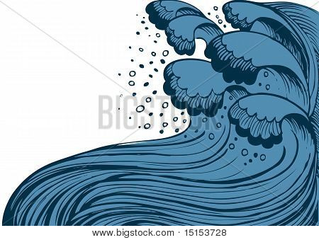 Storm In Blue Sea.vector Big Waves On White Background