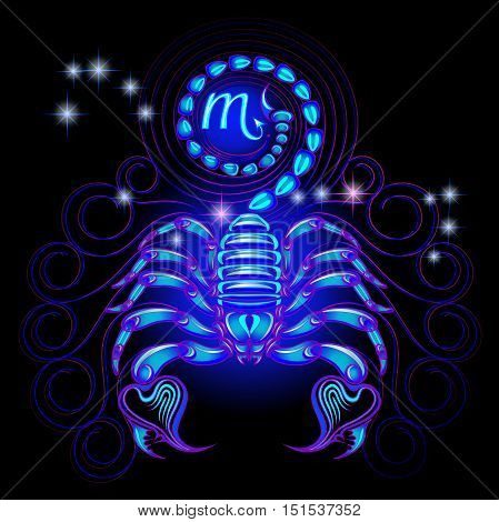 Neon signs of the Zodiac: Scorpio. A series of signs of the zodiac. Made in neon art. On a black background constellations.