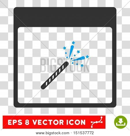Vector Sparkler Firecracker Calendar Page EPS vector icon. Illustration style is flat iconic bicolor blue and gray symbol on a transparent background.