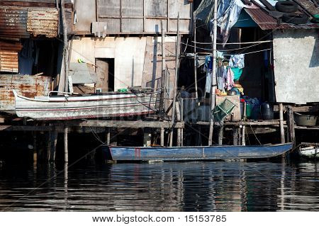 Shanty Squatter Homes Along Philippine River