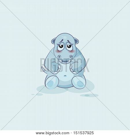 Vector Stock Illustration isolated Emoji character cartoon Hippopotamus embarrassed, shy and blushes sticker emoticon for site, info graphics, video, animation, websites, mail, newsletters, reports