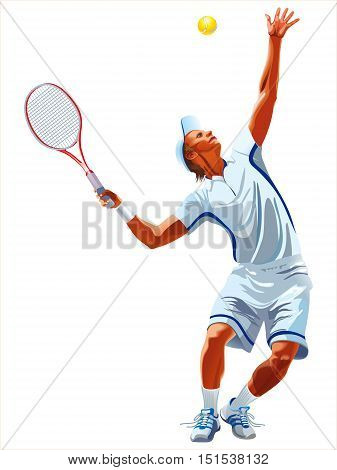 Attractive male tennis player hitting the tennis ball.