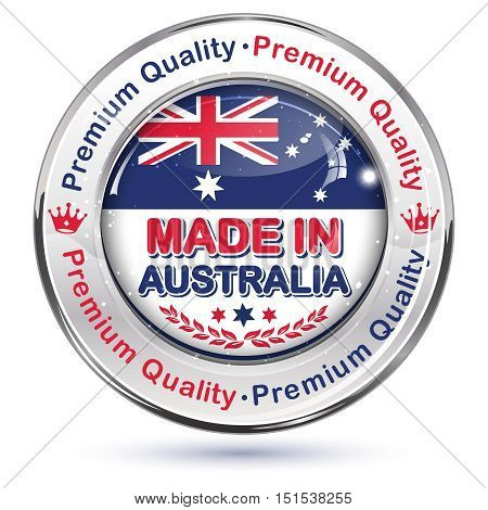 Made in Australia, Premium quality - business icon / sticker for retail industry. Contains the Australian flag and map on the background