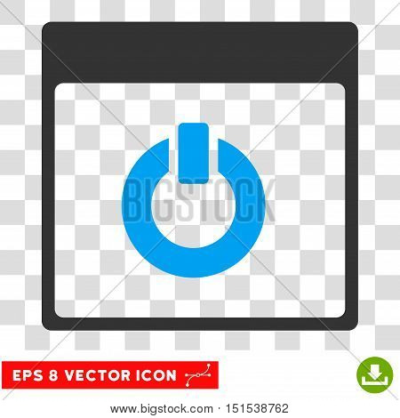 Vector Switch on Calendar Page EPS vector pictogram. Illustration style is flat iconic bicolor blue and gray symbol on a transparent background.