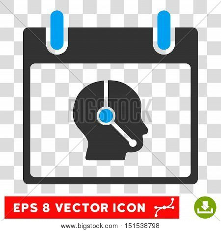 Vector Telemarketing Operator Calendar Day EPS vector pictogram. Illustration style is flat iconic bicolor blue and gray symbol on a transparent background.